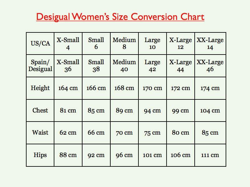 Women's size guide – US sizes Use the chart below to find out women's clothing sizes in US sizes for dresses, jackets and coats. To find the correct size, first take your bust, hip and waist measurements, either in inches or in centimeters.