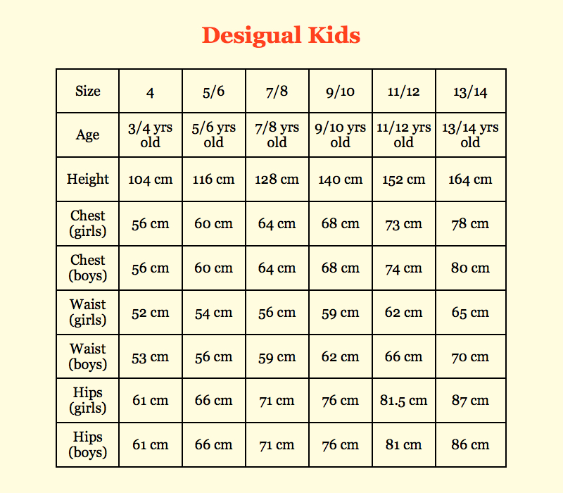 Desigual Kids Size Conversion (Boys, Girls)