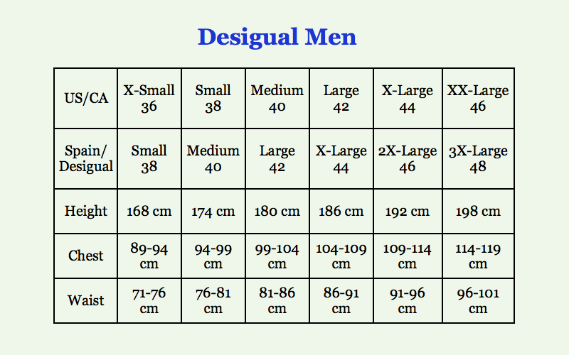 Desigual Men Size Conversion Guide