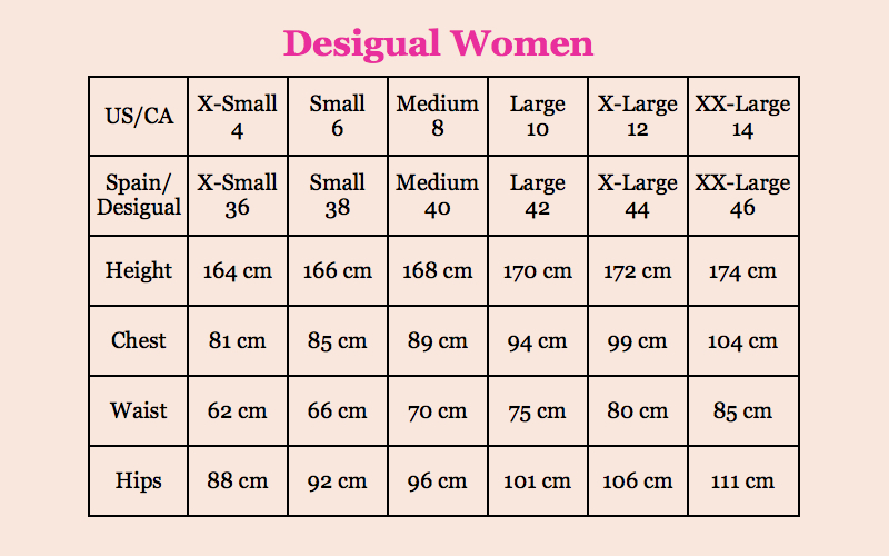 Desigual Size Guide Canada Fun Fashion