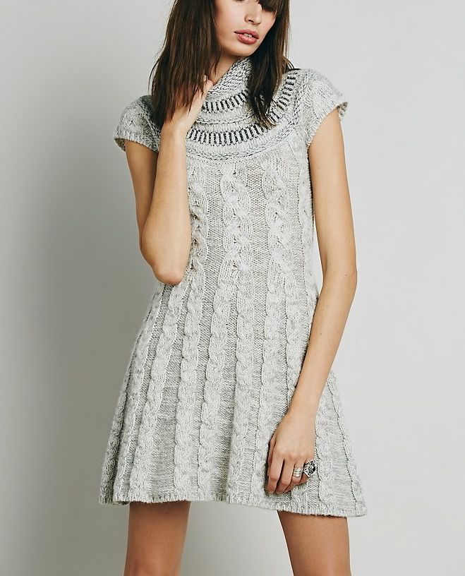 Free People Dress Quot Nordic Nights Quot F325z105 Knitted Grey