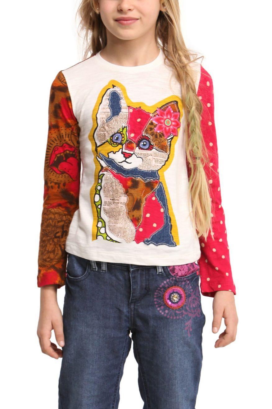 desigual girls t shirt fuengiro 47t3033 kitty design. Black Bedroom Furniture Sets. Home Design Ideas