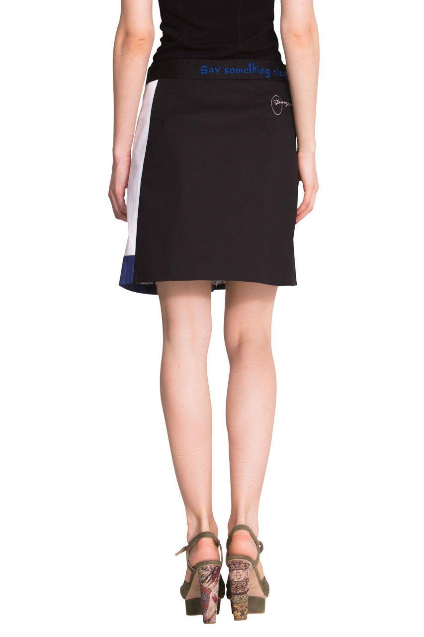 Desigual Skirt Bel 51f27a4 White Blue Skirt W Zipper
