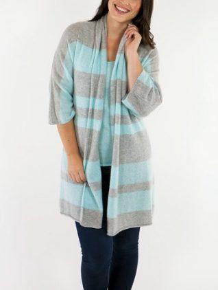 Alashan cashmere Cardigan Aqua Grey Stripes, Canada