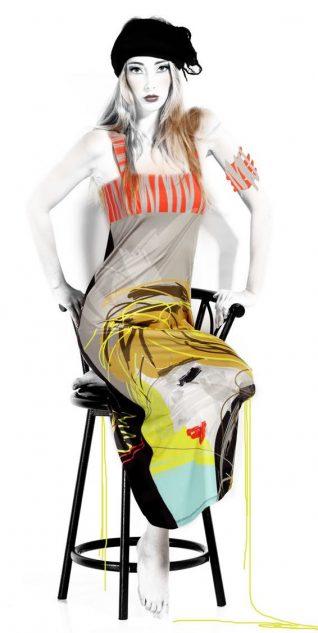 VOLT Design Maxi Dress Timothe, with Face