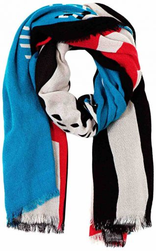 Desigual Lacroix Scarf Rectangle Strokes, Black, Red, Blue