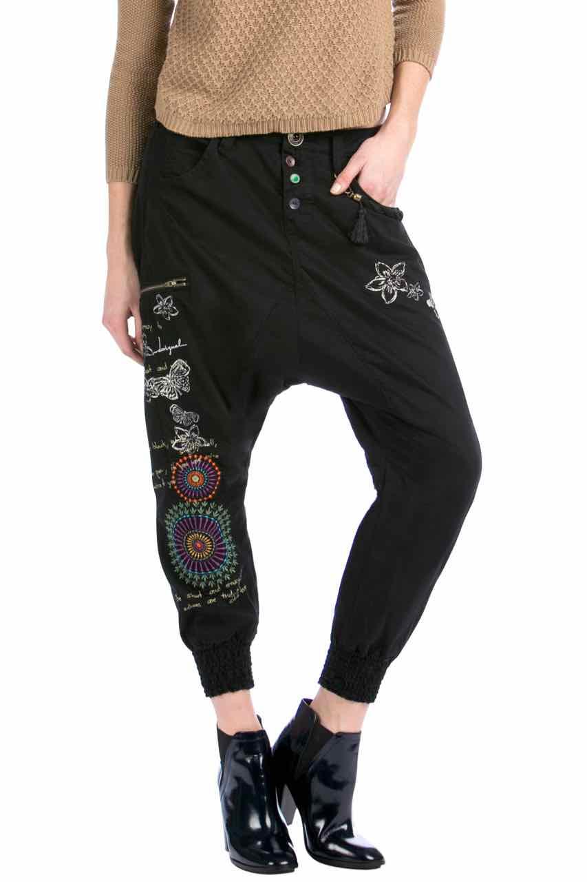 Desigual Black Wide Pants Blanca