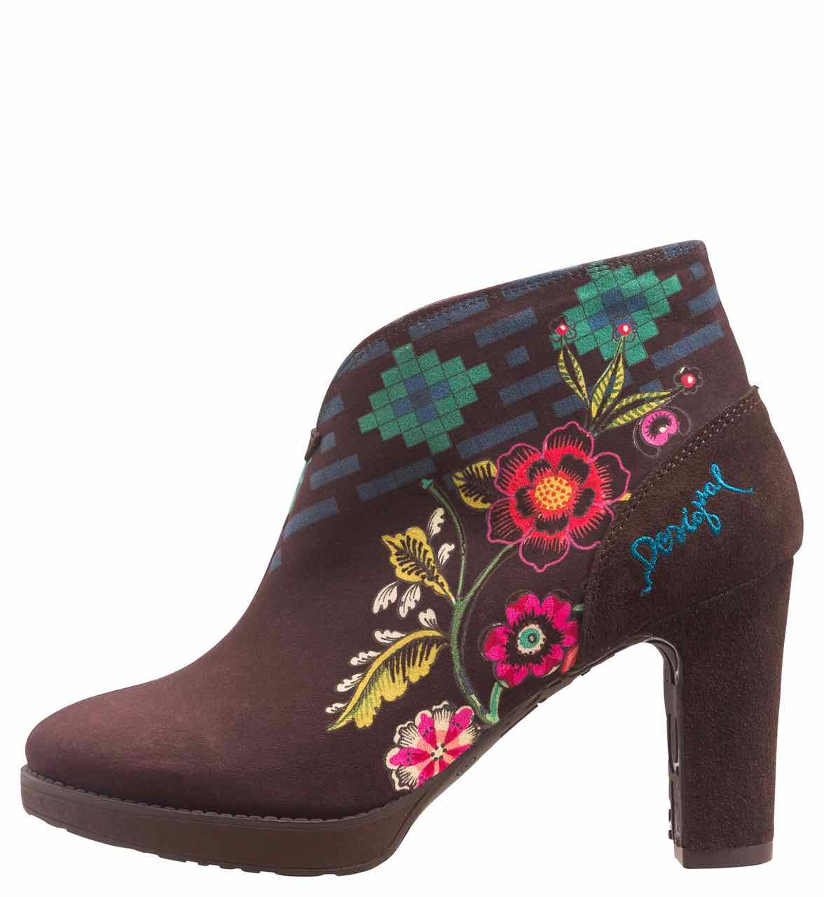 Desigual Boots Eva, Brown with flowers
