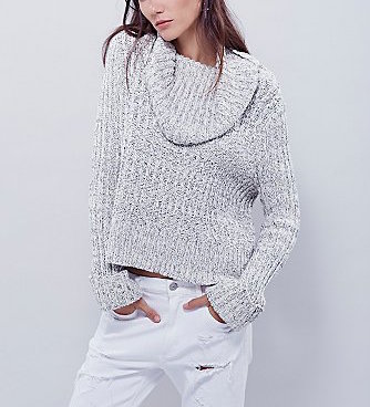 OB465415 Free people Twisted Cable Sweater, Silver Ivory