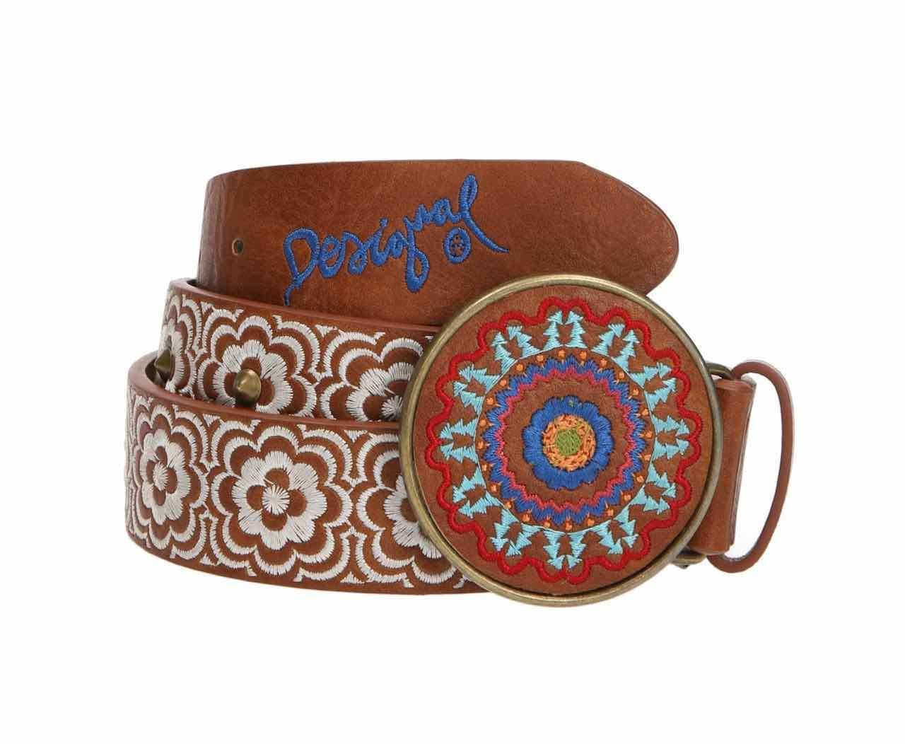 61R56M9_6000 Desigual Belt Chapon Bordado Geo Marron Brown