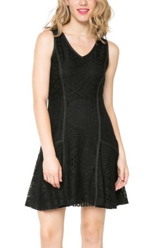 Desigual Lacroix Black Lace Dress