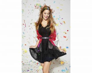 61V2LB2_2000 Desigual Dress Croatia, Black Lace Lacroix Dress