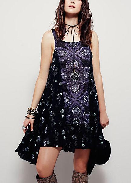 OB431711 Free People Dress Into You Print Slip, Black