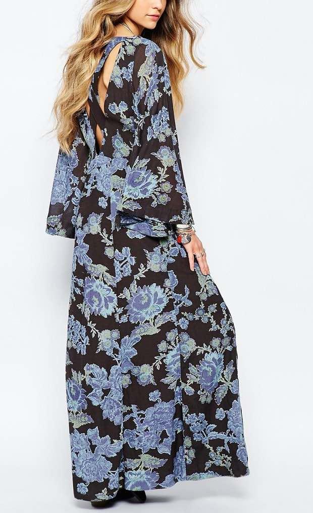 OB476323 Free People Dress Melrose Black and Blue Maxi Dress