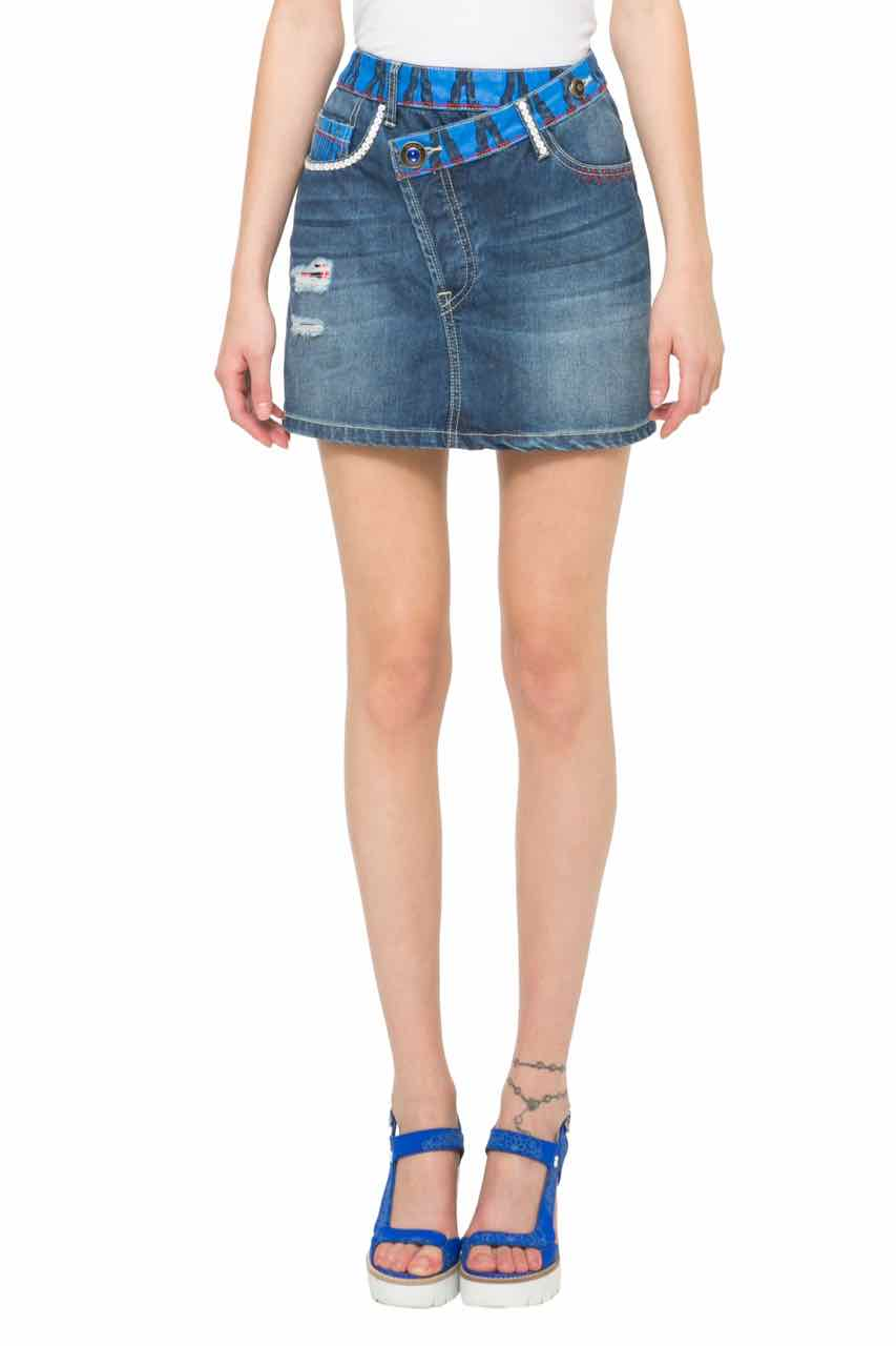 61F27D6_5161 Desigual Denim Skirt Ethnic Mini