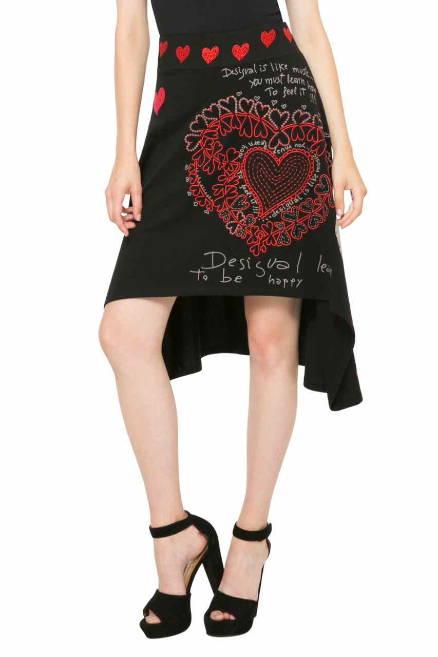 61F28B1_2000 Desigual Skirt Laila, Black with Hearts