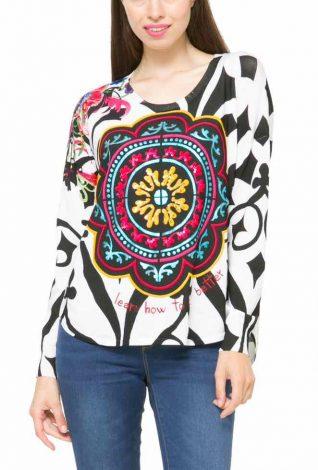 61J21G2_1000 Desigual Sweater Maya, White and Black