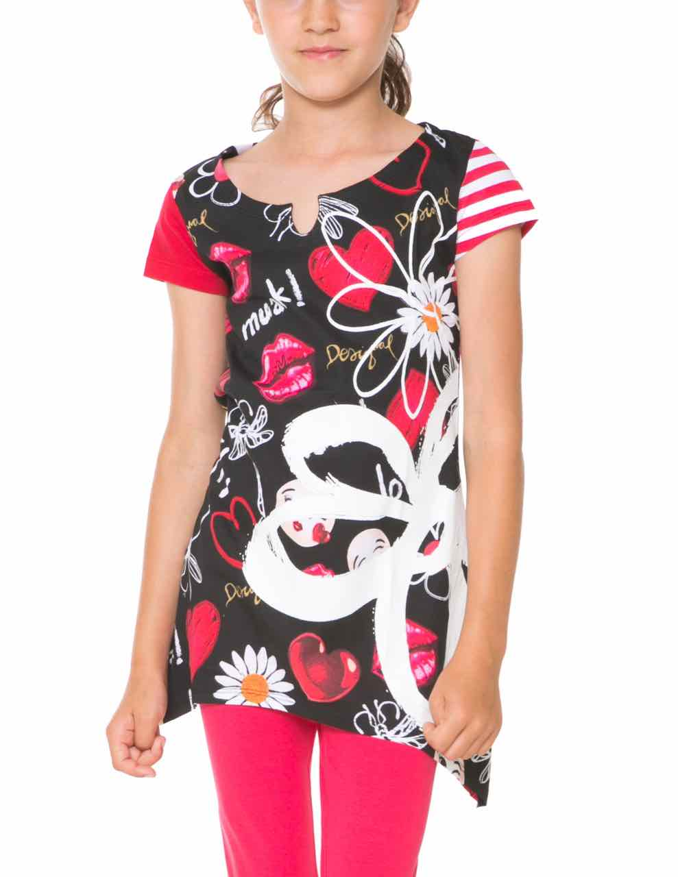61T30L2_2000 Desigual Girl T-Shirt Swan