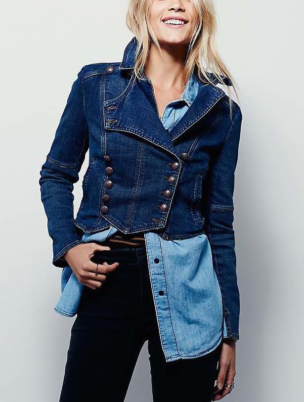 OB466872 Free People Denim Denim Military Jacket BAND
