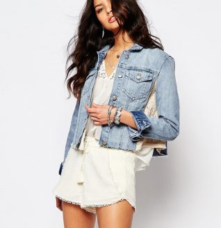 OB466877 Free People Denim Jacket Lace Paneled