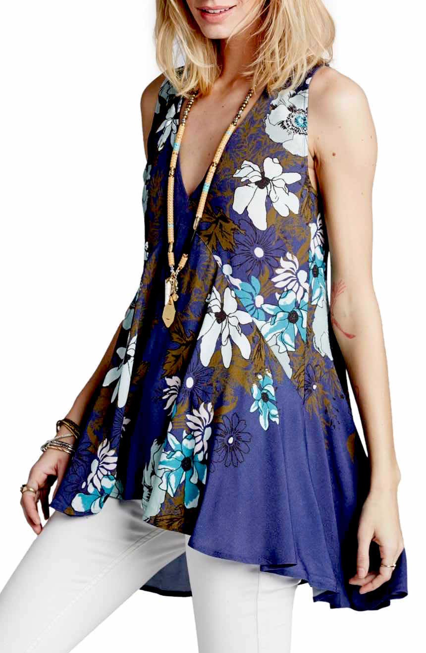 38706719_001 Free People Backyard Printed Tunic Blue Buy Online