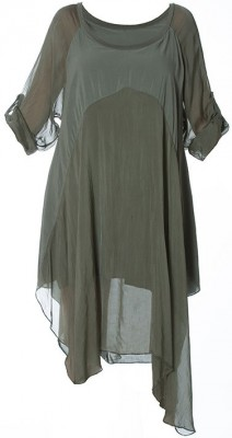 M Made in Italy Dress 19-7161E Khaki Buy Online