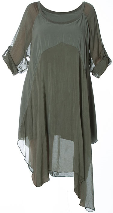 M Made in Italy Dress 19-7161E Khaki Buy Online