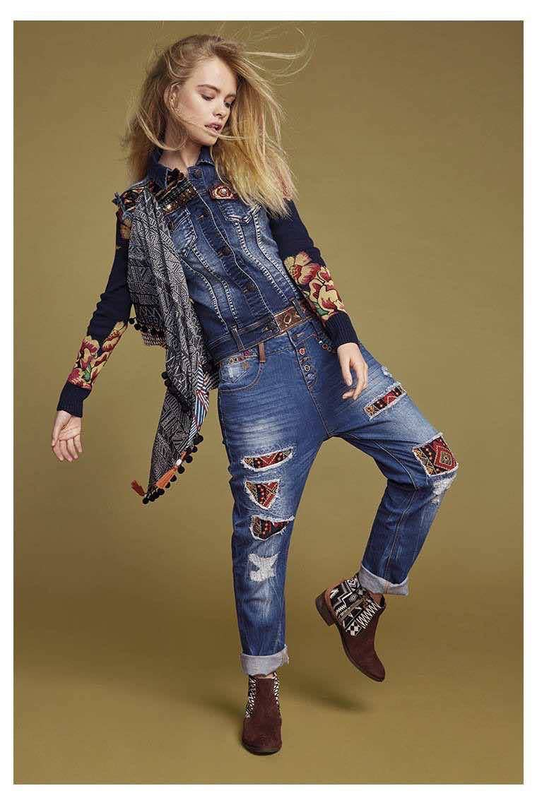Desigual Jeans Exotic 67d26b4 Denim With Patches