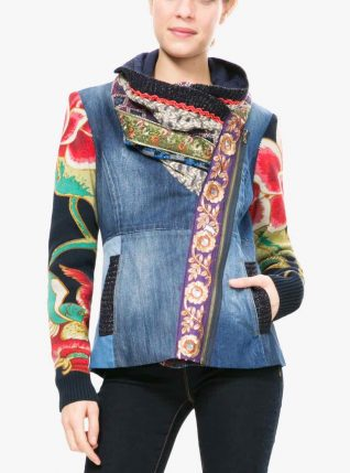 Desigual Jacket with Patchwork Collar