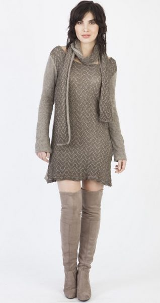 M Made in Italy Beige Knitted Dress