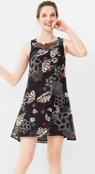 Desigual Lacroix Black Chiffon Dress