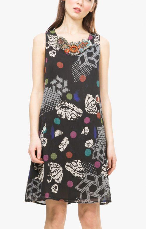 67V2LA5 Desigual Black Chiffon Dress, Canada USA
