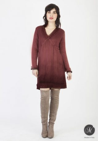 19-8446F M Made in Italy Dress Burgundy Buy Online.