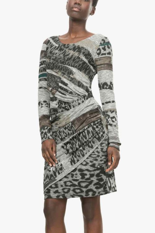 Desigual Grey Black Dress ROSAURA