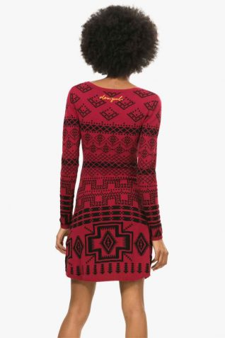 67V22A9 Desigual Ethnic Red Black Dress, Fall 2016