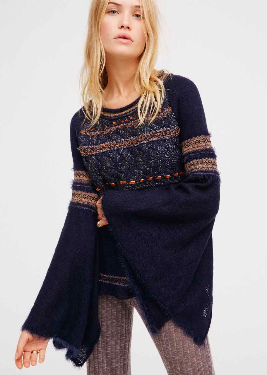 Free People Craft Time Pullover, Navy