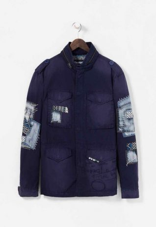 Desigual Men Jacket with Denim Patches