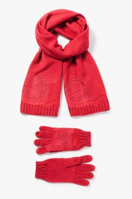 67W58K1_3000 Desigual Scarf Gloves Basic Pack red