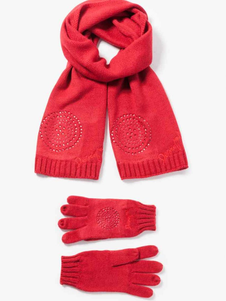 67W58K1_3000 Desigual Scarf Gloves Basic Pack red