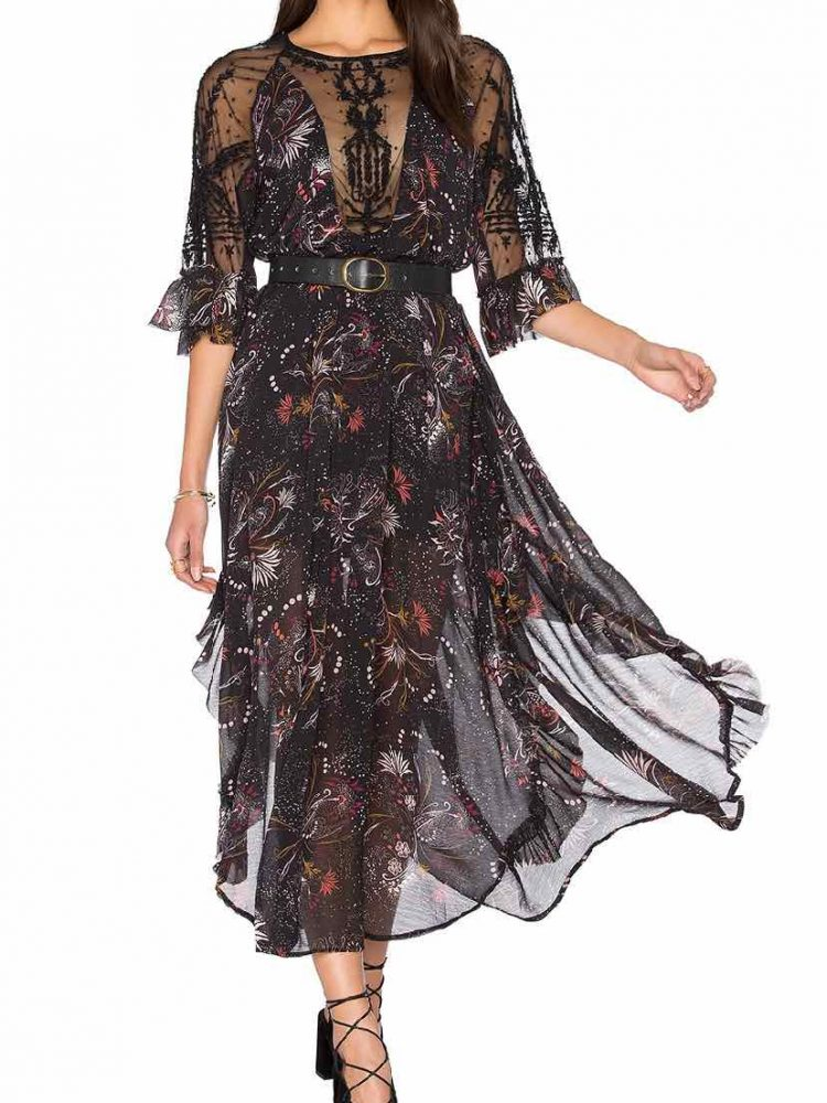Free people Spirit of the Wild Long Dress, Black