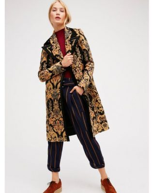 Free People Black Gold Coat