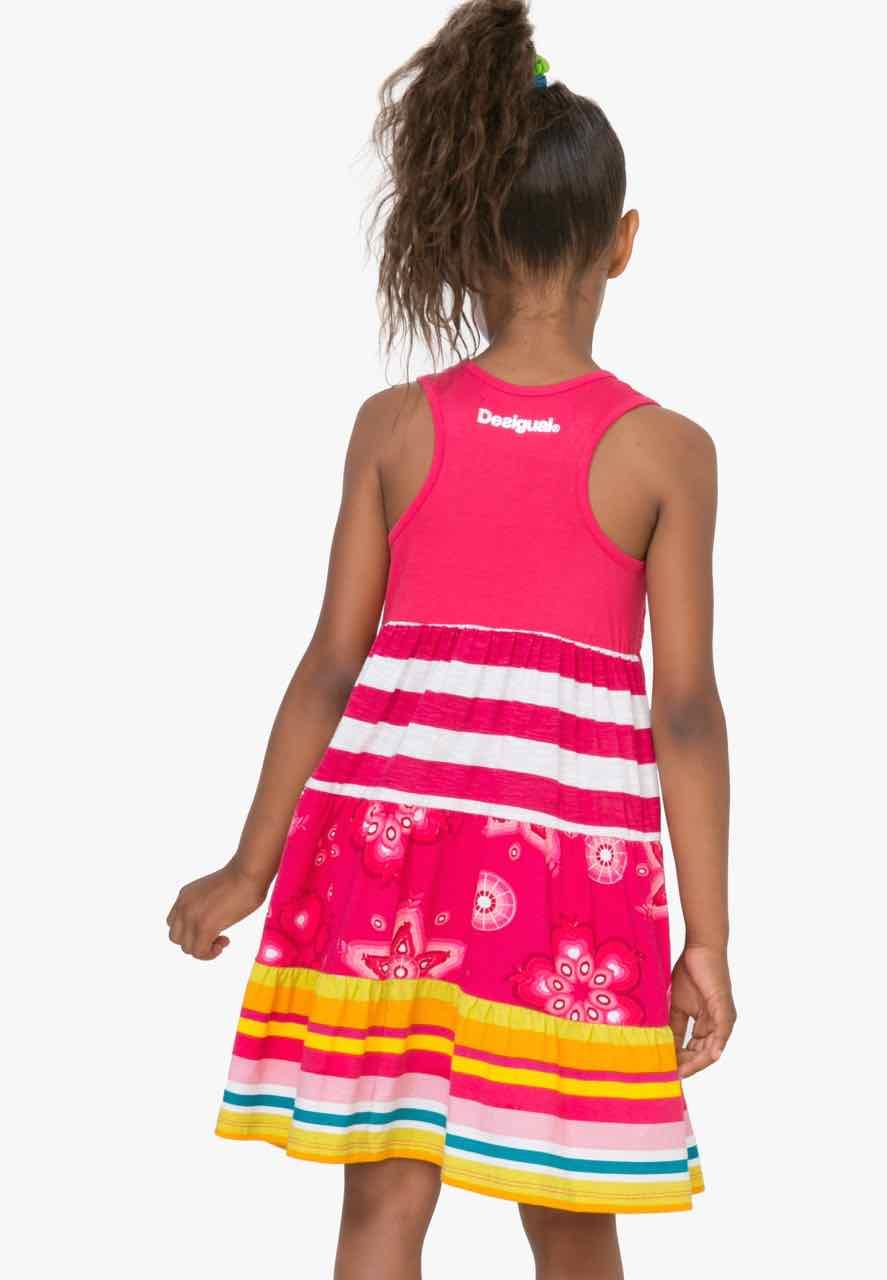 Desigual Girls Dress Kampala 72v32f1 Pink Sleeveless