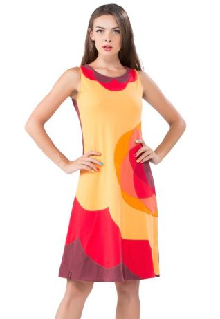 Pygmees Red Yellow Cotton Dress