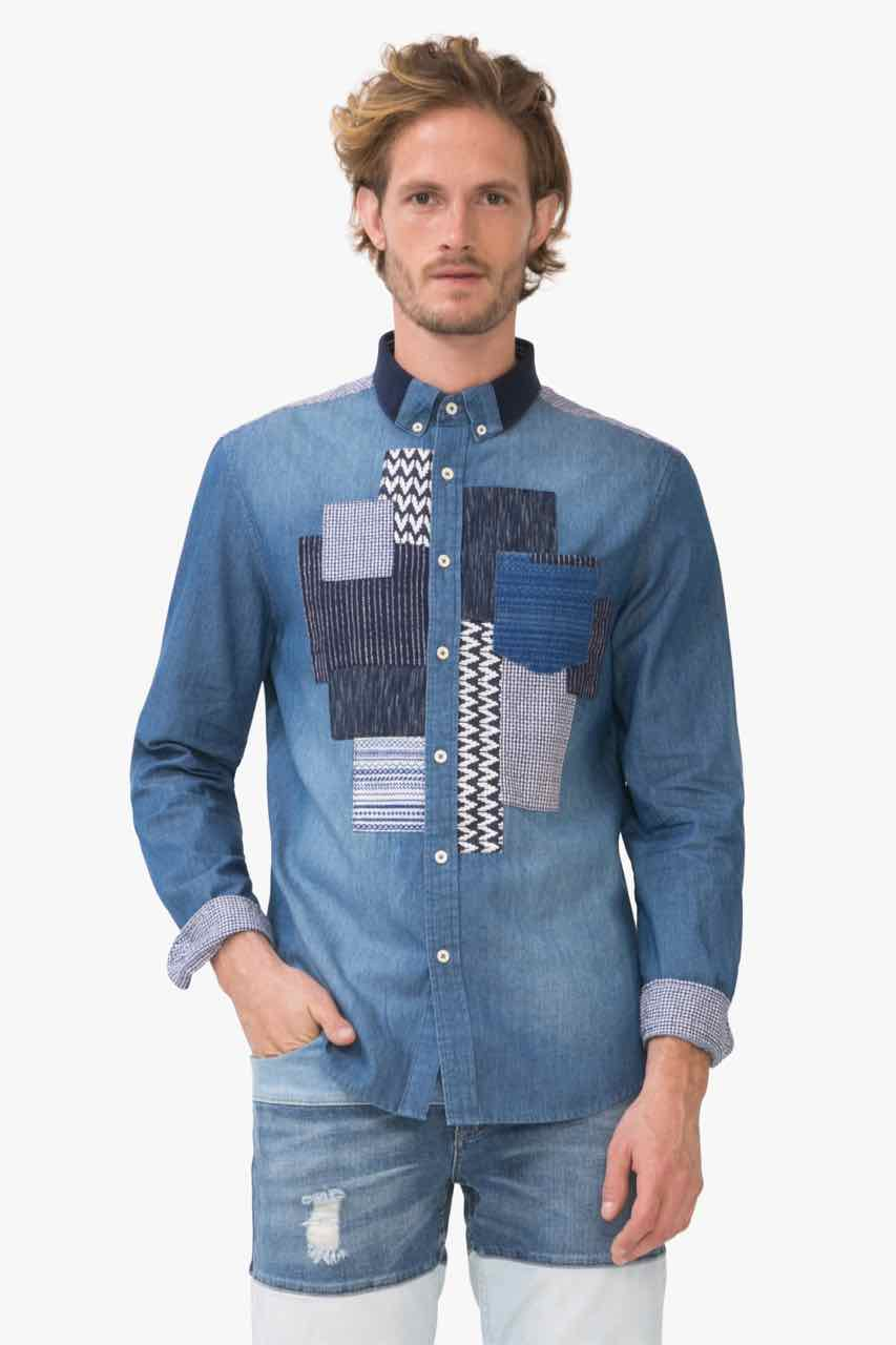 72C12J5_5096 Desigual Man Denim Shirt Uia Buy Online