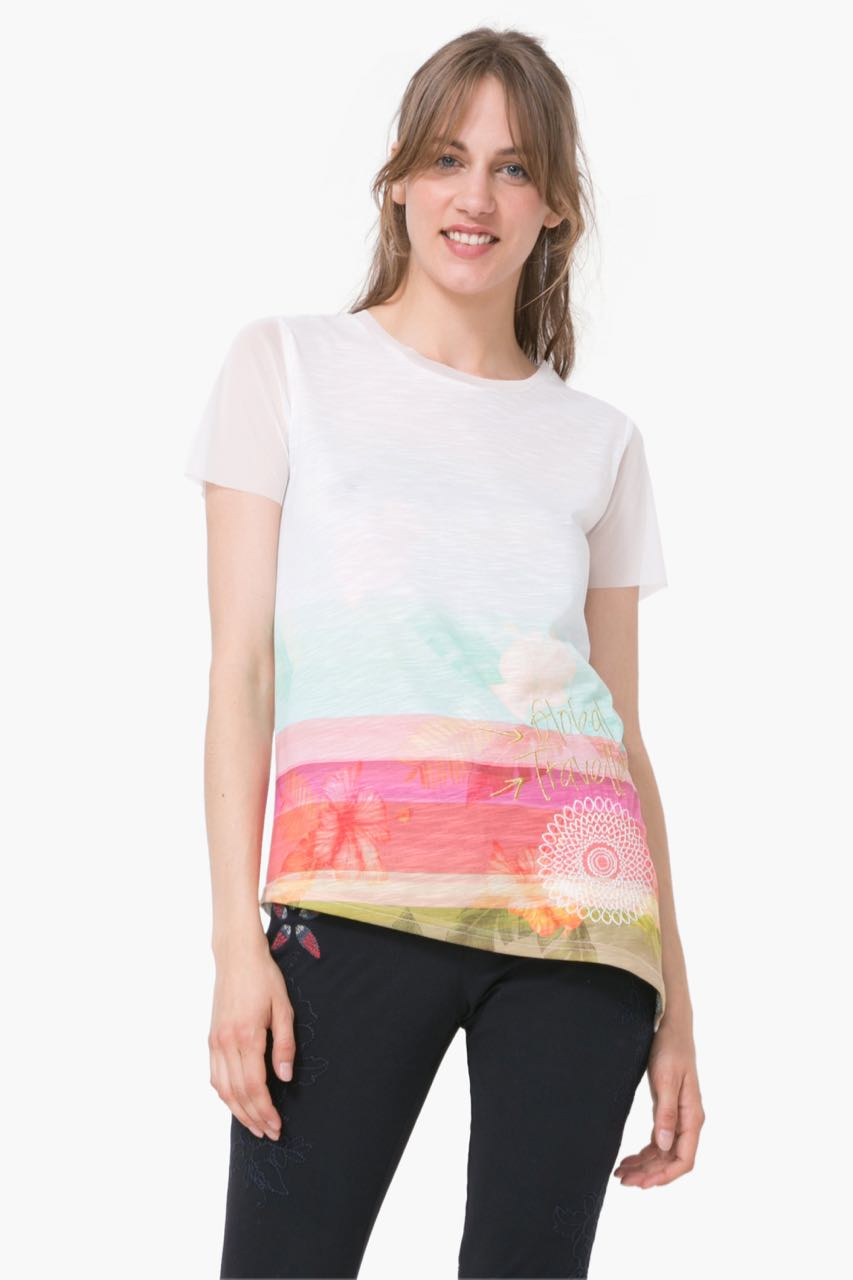 73T2EP9_1000 Desigual T-Shirt Asimetric Polynesia Buy Online