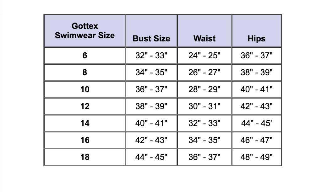 Gottex Size Guide | Fun Fashion Online Boutique