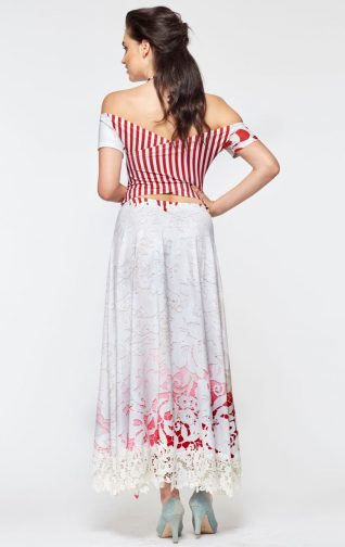 IPNG White and Red Maxi Dress