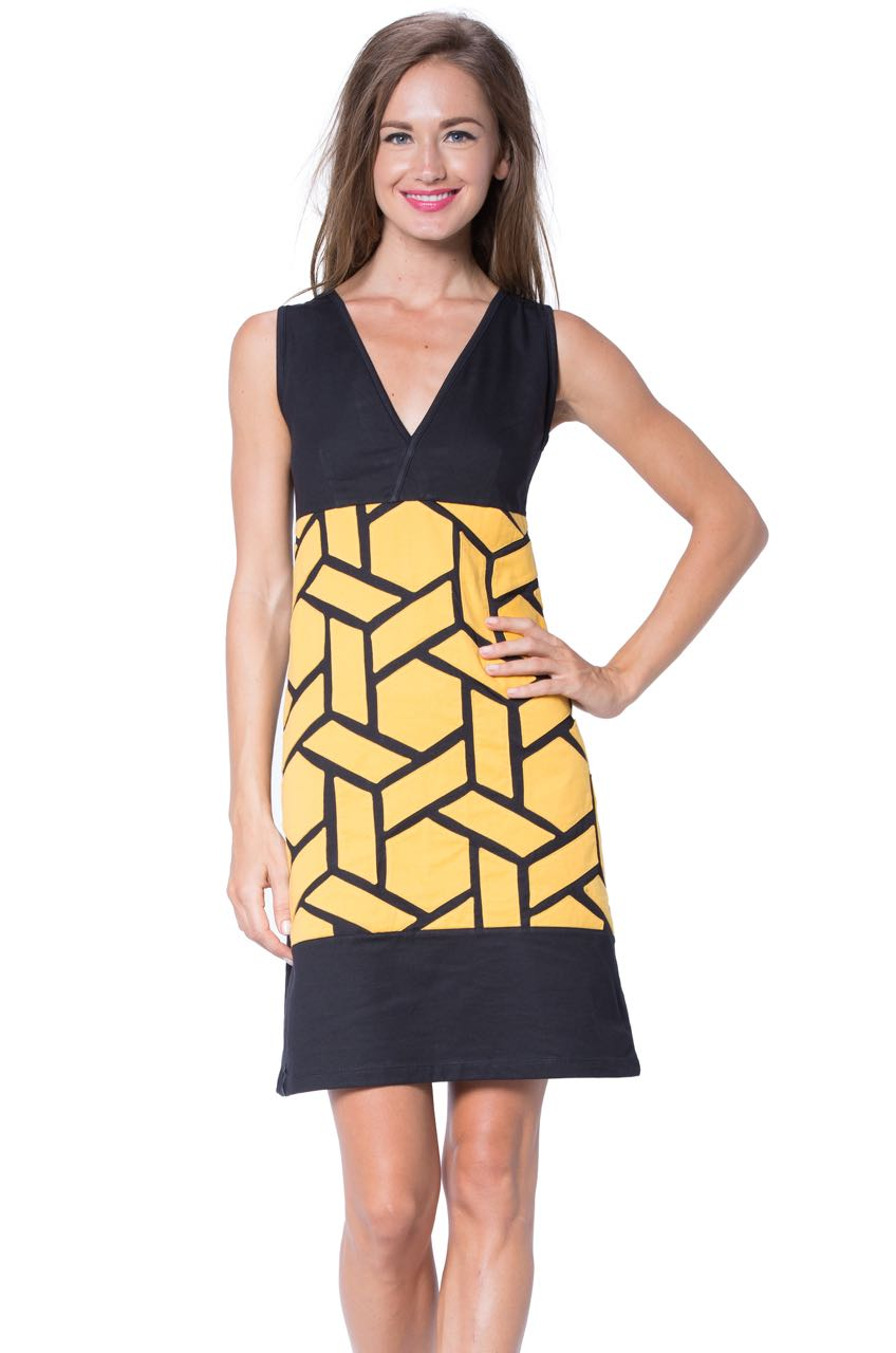 Turbowear Black Yellow Summer Dress