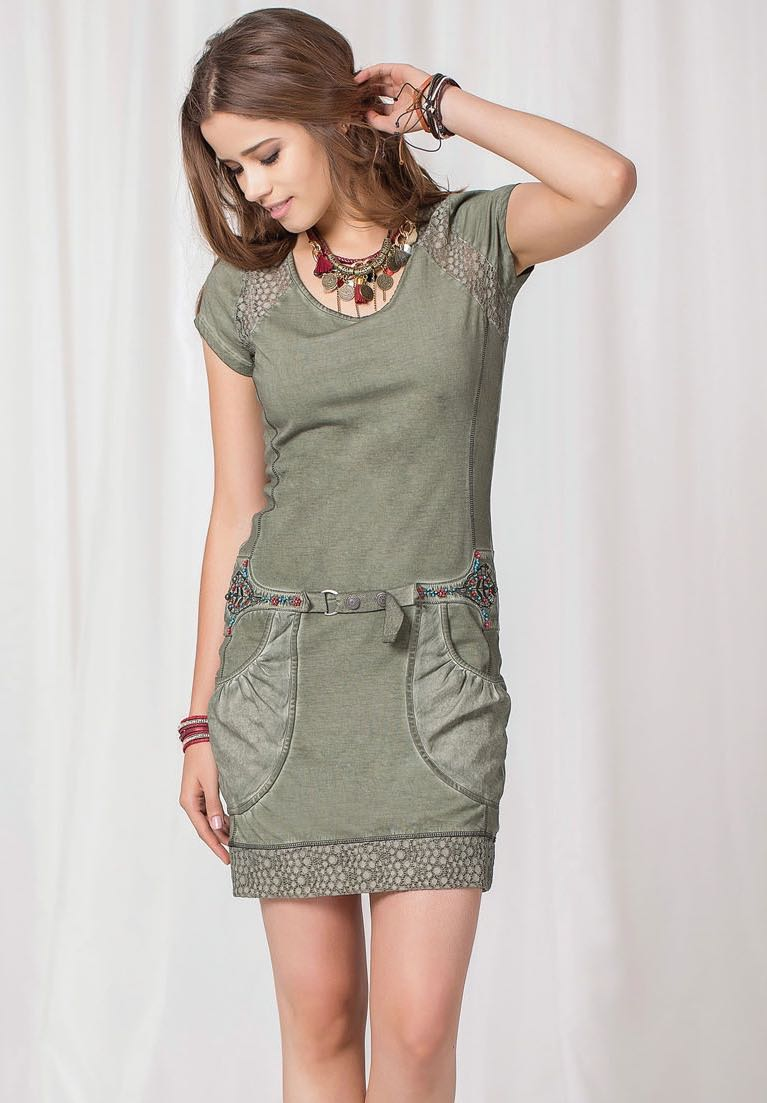 Angels Never Die Khaki Green Summer Dress