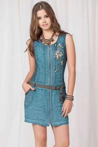 Angels Never Die Aqua Linen Dress, 2017
